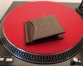 Dollar Wallet with Records Vinyl Turtable Design. Elegant Wallet For Men, HANDCRAFTED 100% FULL GRAIN.  Gift for Him
