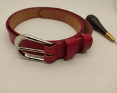 Woman Elegance Red Leather Belt, HANDCRAFTED 100% FULL GRAIN. Italy Buckles. Gift for Girlfriend, Gift for Mother
