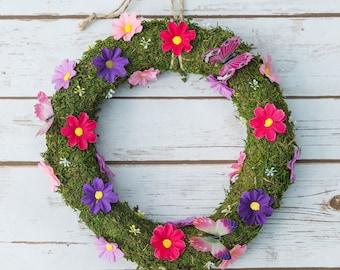 Summer Flower Wreath | Pinks & Purple | Butterflies | Hanging Decoration (small)