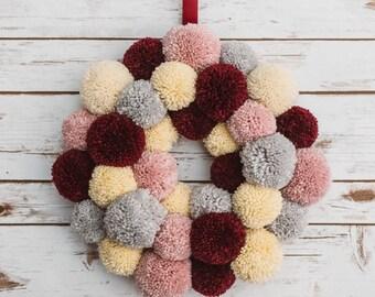 Soft Pink | Burgundy | Grey | Cream Pom Pom Wreath