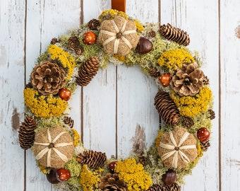 Rustic Pumpkin Wreath | Mushrooms | Dried Flowers | Pine Cones