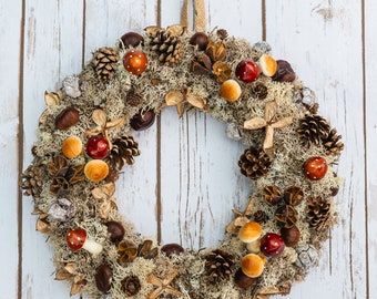 Autumn Woodland Wreath | Mushrooms | Conkers | Chestnuts | Pine Cones