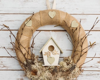 Birdhouse Wreath | Moss and Birch | | Feathers | Spring Hanging Decoration