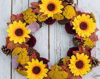 Sunflower Wreath | Sunflowers | Pom Poms | Dried Flowers