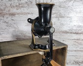 Coffee Grinder, Vintage Spong Co No. 2 Coffee Mill, Made in England, Cast Iron, Table or Wall Mount, Adjustable Grind.