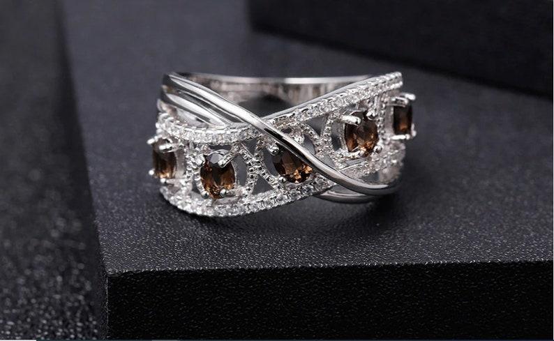 Smoky Quartz Ring 0.84 ct 925 Silver