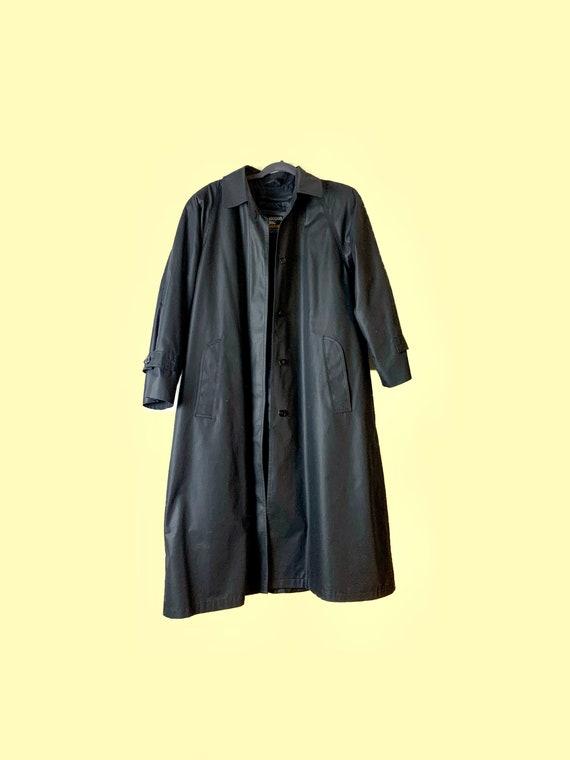 Black London Fog Trench Coat, Vintage Trench Coat,