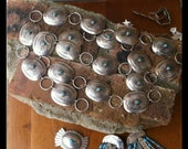 Mid Century Sterling Silver Concho Belt with Turquoise