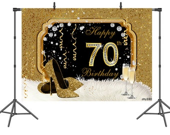 Personalised 70th Birthday Custom Banner MADE IN 1949 Golden Glitter #02