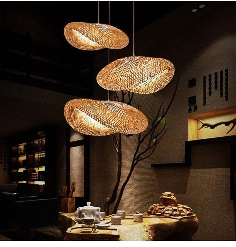 Bamboo Hanging Pendant Light  Modern Bamboo Weaving Light  image 0