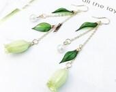 Real Flower Earrings,Mini Flower Drop earrings,Botanical Jewelry,pressed flower earrings,best gift for her- handmade real flower earrings