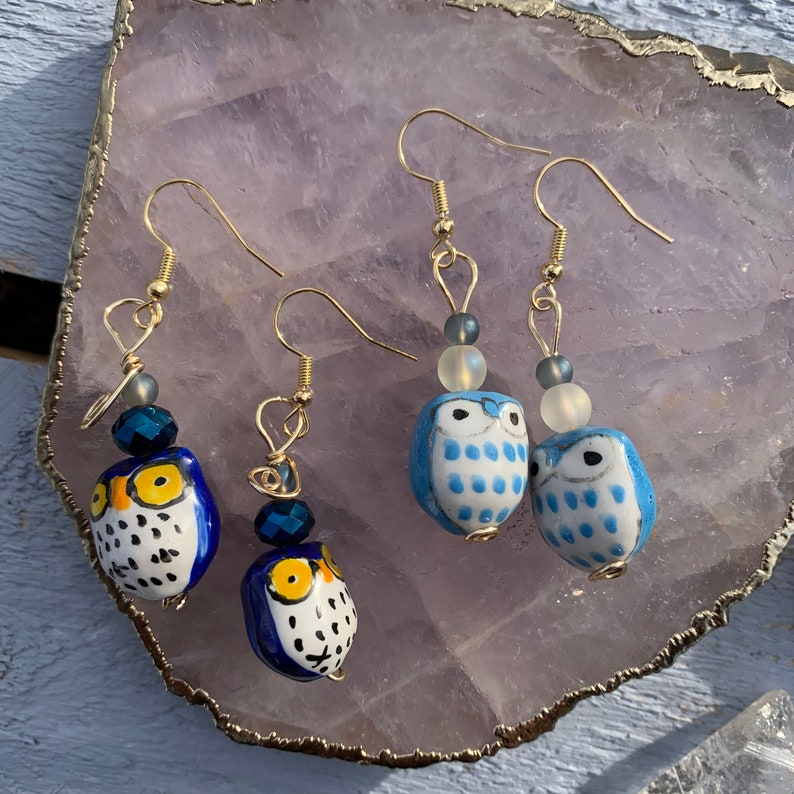 Spiritual Boho Antique Owl Bauble Wire Wrapped Earrings Healing Jewelry Valentine/'s Day Natural Gemstone Quirky Gift