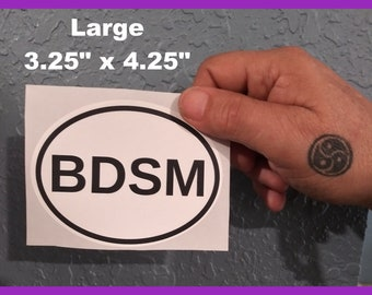 BDSM Euro Style Oval Sticker Weatherproof! Kinky Naughty Dirty BDSM & Gender Symbol Stickers Small + Large Available - Free Shipping in USA
