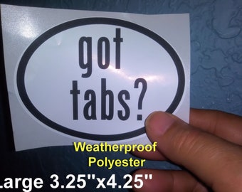 got tabs?  Euro Style Oval Stickers - Weatherproof! Kinky Naughty Dirty BDSM Stickers - Free Shipping in USA