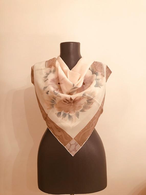 silk head scarf vintage 80s,retro scarf