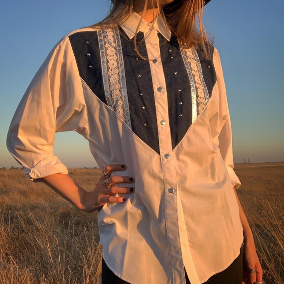 Vintage 80's Deadstock H Bar C Button Down Shirt