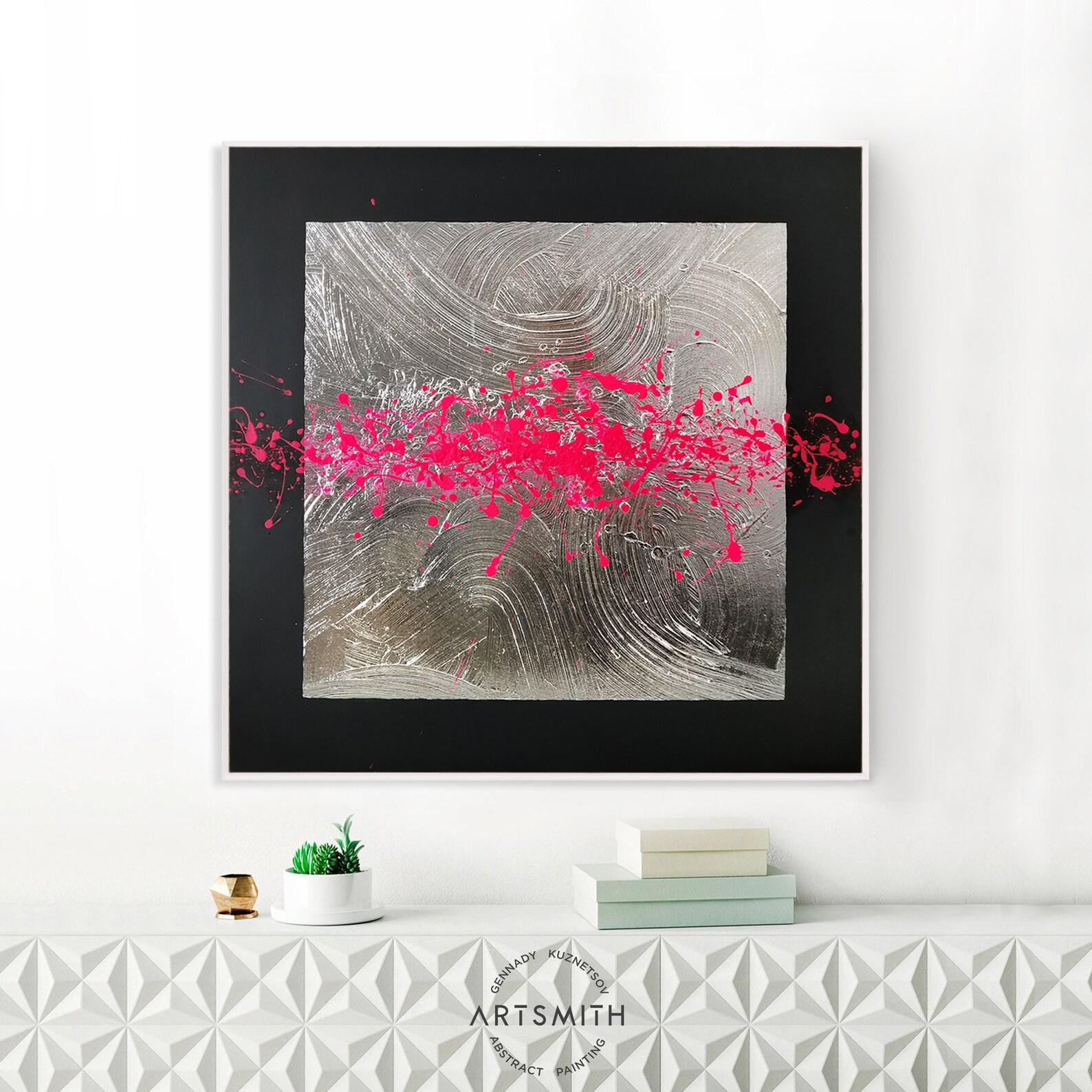 Pittura d'argento Arte murale rosa caldo Foyer decorazione ...