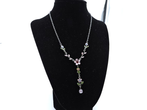 Delicate pewter drop necklace with pink flowers
