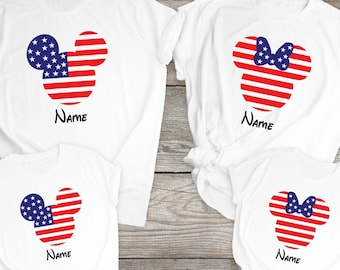 4th Of July Shirt, Independence Day Shirt, Disney Custom Shirt, Personalized Disney Shirt,  Disneyland Shirt, Disney Shirt, USA Flag Shirt
