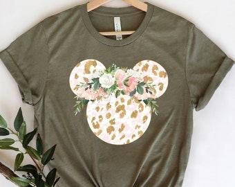 Disney Floral Shirt, Disney Ears Shirt, Floral Disney Shirt, Disney Shirt, Minnie T-Shirt, Floral Shirt, Disney Leopard Design Shirt