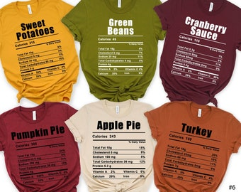 Nutrition Thanksgiving Food Shirt, Funny Thanksgiving Shirt, Thanksgiving Shirt, Thanksgiving Food Shirt, Thanksgiving Family Group Shirts