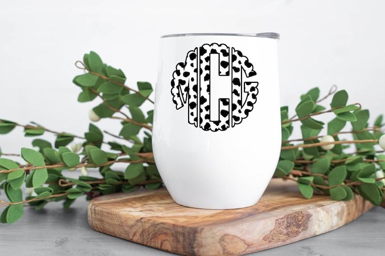 Cow Print Monogram Tumbler Personalized Monogram Wine Tumbler Cow Print Cup Gift For Women Scalloped Monogram