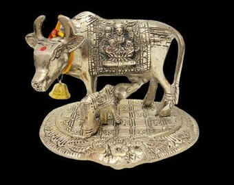 Beautiful Silver Metal Kamdhenu Cow And Calf Statue Handcrafted Sculpture for Home Decor, Pooja, Worship, Decorative Gift Item