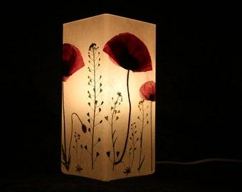 Lampe mit gepresstem Mohn und Hirtentäschel- lamp with pressed Red poppy and Shepherd's purse