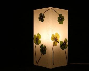 Lampe mit gepresstem Glücksklee, Lamp with pressed Lucky Clover