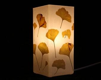 Lampe mit gepresstem Ginko, lamp with pressed Gingko