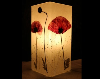 Lampe mit gepresstem Mohn- Lamp with pressed Red poppy          Photo collage blue