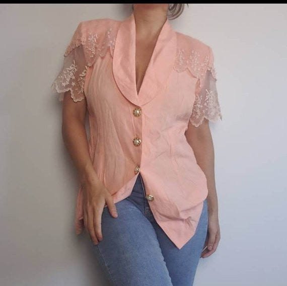 Vintage Melon Embroidered Lace Button Up Blouse