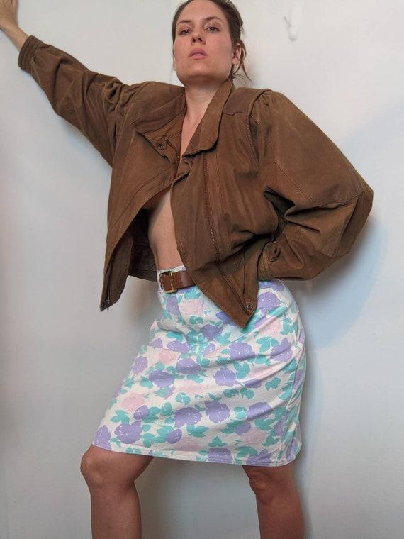 Vintage Pastel & Floral Denim Pencil Skirt