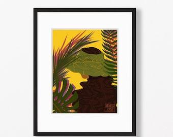 Guam - Coconut Hat Print