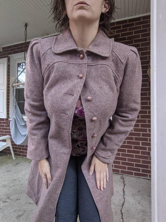 Dusty rose princess coat, 1970s, medium-large