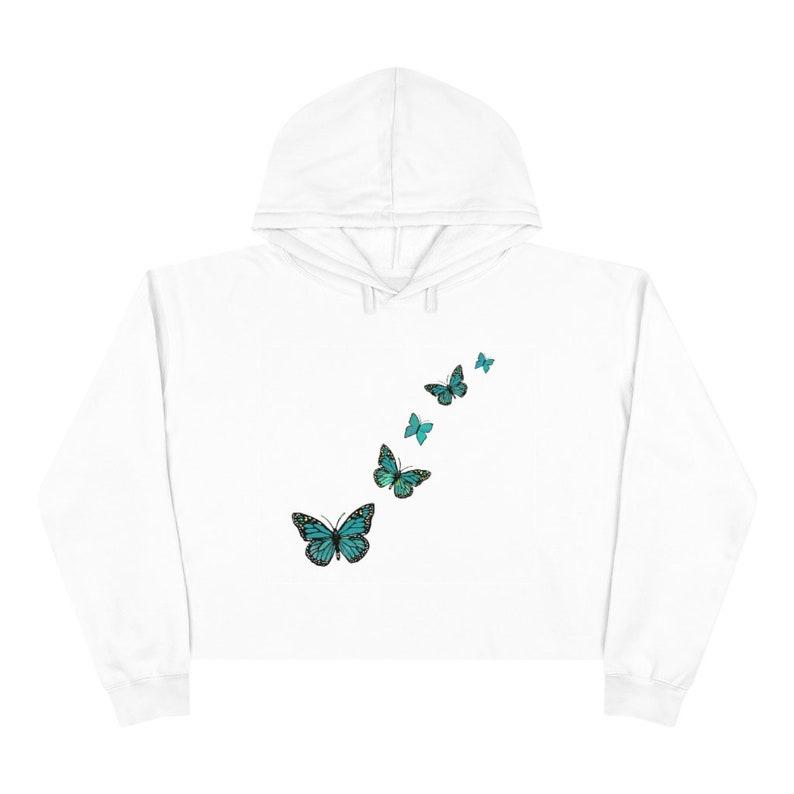 E Girl Hoodie Soft Grunge Aesthetic Butterfly Crop Hoodie Soft Girl Aesthetic Clothes Teal Butterfly Butterfly Cropped Sweatshirt