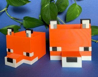 Minecraft Fox Planter 3D Printed Plant Pot/Fuchs Übertopf Blumentopf Home Office Decor, Drainage Plate Available