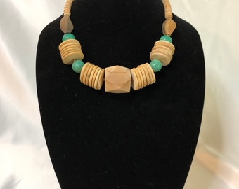 Vintage multi colored wood bead necklace teal colored beads