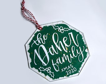 Personalized Hand-Lettered Acrylic Christmas Ornament, Custom Calligraphy Plastic Acrylic Ornament