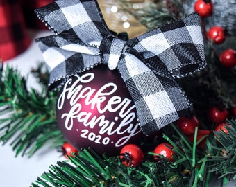 Personalized Farmhouse Hand-Lettered Christmas Ornament, Buffalo-Check Custom Calligraphy Glass Ornament
