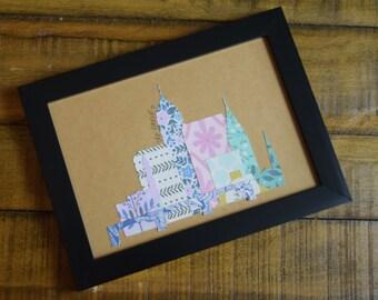 Framed Cleveland Custom Die-Cut Skyline Print, 5x7 inches