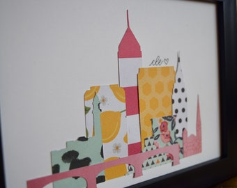 Framed Cleveland Custom Die-Cut Skyline Print, 8x10 inches