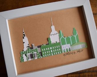 Framed Athens Ohio University Custom Skyline Print, 5x7 inches