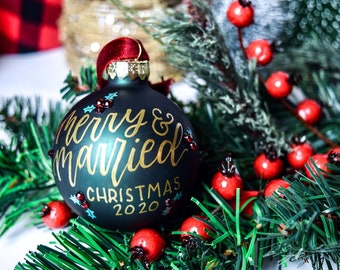 Personalized Holly Hand-Lettered Christmas Ornament, Rhinestone Custom Calligraphy Glass Ornament