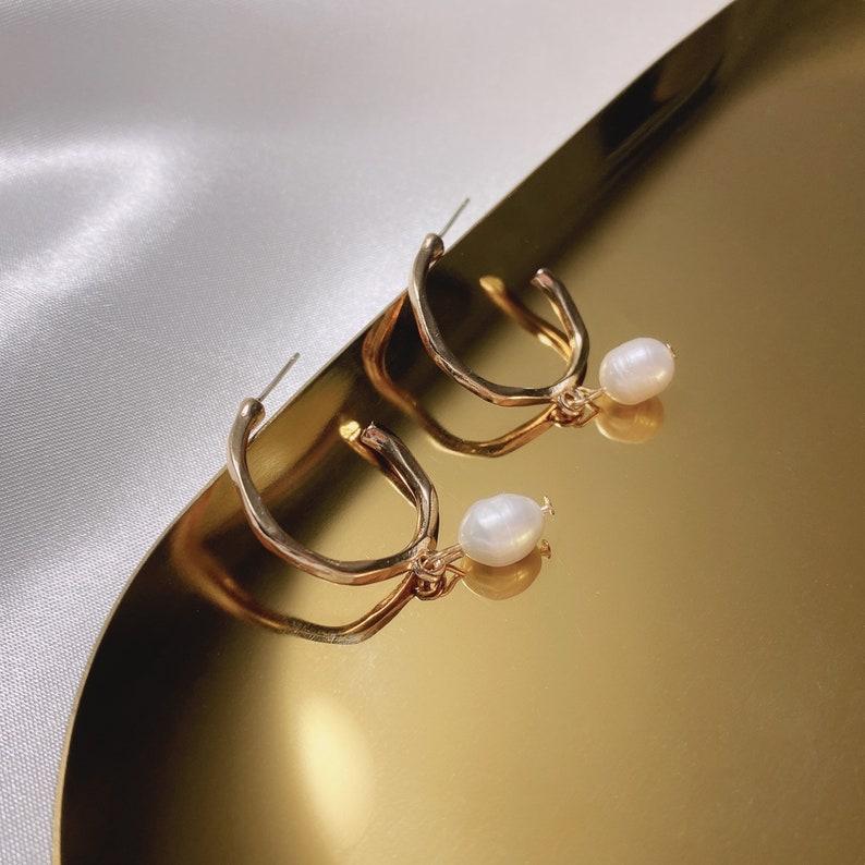 Dainty Cute Minimal  Earring Irregular Natural Pearls Hoop Earring Christmas Holiday New Year Birthday Gift Silver S925