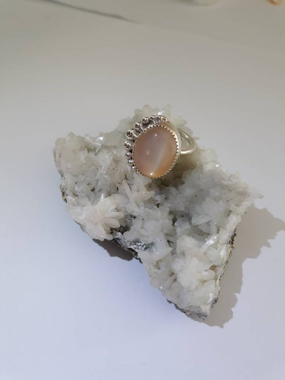Peach Moonstone & Silver Crescent Moon Ring, Handmade .925 Sterling Silver Bezel Set Peach Moonstone Ring