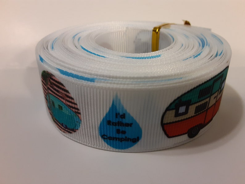 Grosgrain Ribbon 10 Yards Tear Drop Campers Camp Ground Camping Vacation Enjoy the Outdoors Trailers Happy Camper Fishing Camp Fire