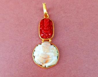 RED CORAL GANESH Charm bracelet
