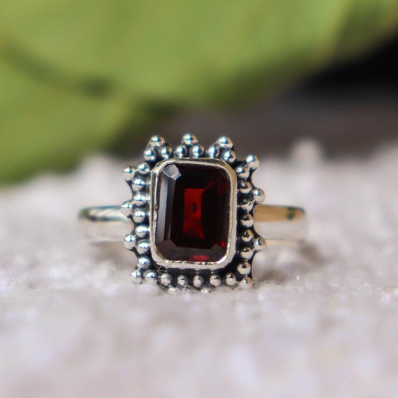 Garnet Ring Beautiful Ring 925 Sterling Silver Ring Designer Ring Boho Natural Garnet Ring Statement Ring Handmade Garnet Jewellery