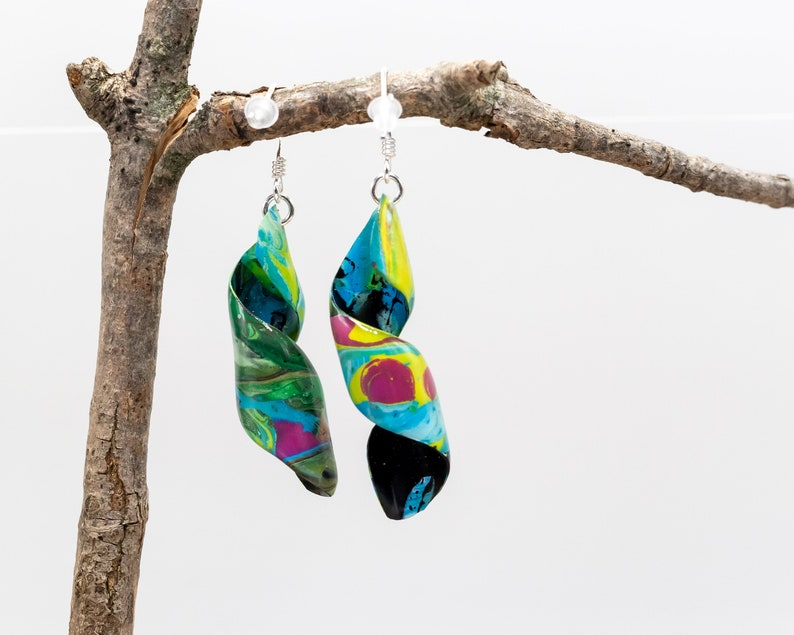 Acrylic Pour Painting Spiral Dangle Earrings artist gift earrings unique hand made Artist earrings sterling silver Multi color paint